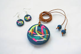 pair of earrings with polymer clay