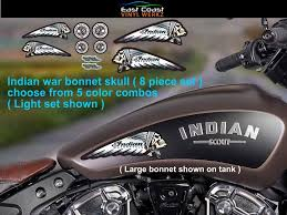 Amazon Com Indian Skull Vinyl Decals 8 Pc Set Pick From 5 Color Choices For Indian Scout Chief Sixty 60 Ftr 1200 Chieftain Dark Horse Roadmaster Bobber Challenger Motorcycle Light Arts Crafts Sewing