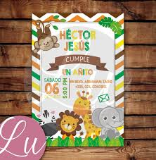 Invitacion Digital Animales Safari Baby Shower Un Ano 70 00 En