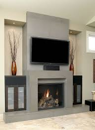 grey block concrete fireplace design