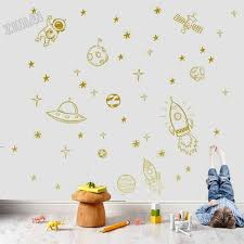Boy Room Wall Decals Cosmos Rocket Ship Astronaut Stars Vinyl Wall Sticker For Children Room Decoration Fashion Wall Decal Y280 Wall Stickers Aliexpress