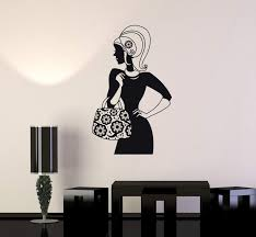 Wall Decal Beautiful Woman Fashion Handbag Shopping Vinyl Stickers Uni Wallstickers4you