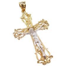 gold tone ornate crucifix cross pendant