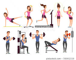 gym exercises body pump workout vector
