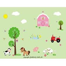 Nursery Wall Decals Farm And Country Nursery Decals Wall Decals For Kid S Room Country Animal Wall Stickers Barn Decal Tractor Decal