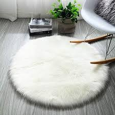 Snagshout Inmozata Soft Fluffy Faux Fur Area Rug Round Sheepskin Rugs For Bedroom Kids Room Decor Cute Circle Floor Carpets For Living Room 3ft Diameter White