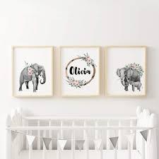 Elephant Boho Nursery Wall Art With Custom Baby Name