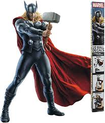 Amazon Com Decalcomania Marvel 10 Pc Thor 23 X 27 Wall Decal With 3d Augmented Reality Interaction Home Kitchen