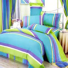 sleep with green and purple bedding