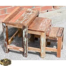vintage reclaimed timber side table set