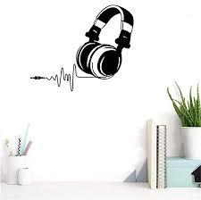 Amazon Com Bibitime Headphone Wall Decal Headset Earphone Vinyl Sticker For School Music Classroom Baby Infants Toddlers Nursery Bedroom Children Kids Room Decor Black 21 65 X 25 98 Home Kitchen