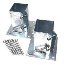 Twin Pack Bolt Down Fence Post Shoe Galvanised Inc Multifix Concrete Bolts Base Ebay