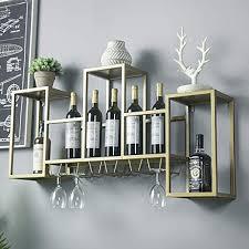 wine cup rack iron gold wall shelf