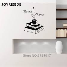 Joyreside Coffee Book Wall Decals Reading Rooms Wall Decor Festina Lente Quotes Wall Sticker Vinyl Reading Wall Decal Home Wm308 Wall Stickers Aliexpress
