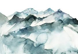 Watercolor Mountains Made To Measure Wall Mural Photowall