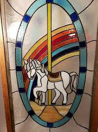vibrant stained glass carousel horse