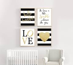 Black White And Gold Nursery Girl Nursery Wall Art Gold Nursery Decor Baby Room Wall Art Something Cute Prints