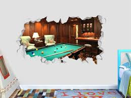 Billiards Table Wall Decal Decor Sticker Vinyl Decal 3d Etsy