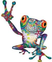 Amazon Com Weston Ink Reflective Cool Peace Frog Decal With Psychedelic Art Automotive