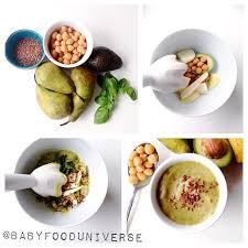 baby puree avocado pea pear
