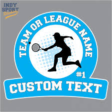 Full Color Sticker With Girl Tennis Player And Custom Text Car Stickers And Decals Coloring Stickers Custom Color