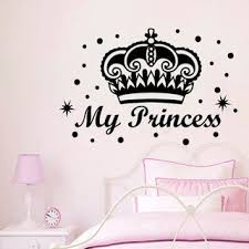 Shop Little Princess Quote Crown Vinyl Sticker Fairy Tale Murals Hearts Art Kids Room Decor Sticker Decal 22 X 30 Color Black Overstock 15436483