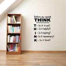 Think Before You Speak Motivational Quotes Vinyl Wall Decals Inspirational Saying Wall Sticker Classroom Study Room Decor Wish