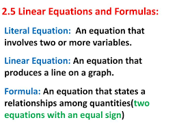 ppt 2 5 linear equations and formulas