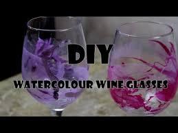 diy watercolour wine glasses you