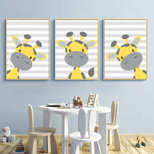 Baby Giraffe Nursery Posters Yellow And Grey Wall Pictures For Living Room Nursery Wall Art Decor Giraffe Nursery Prints Decor Painting Calligraphy Aliexpress