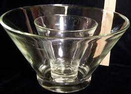 set 2 clear glass serving bowls large
