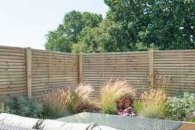 1 8m X 1 8m Pressure Treated Contemporary Double Slatted Fence Panel Forest Garden