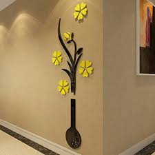 3d Flower Vase Wall Sticker Diy Acrylic Art Mural Decal Removable Home Decor Walmart Com Walmart Com
