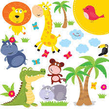 Amazon Com Animal Safari Jungle Vinyl Wall Decal For Kids Bedroom Playroom Decorative Art Stickers For Baby Girl Boy Wall Decor Nursery Wall Stickers 24 Art Clings Wall Decals For