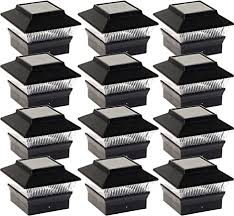 Greenlighting 12 Pack Standard 1 Fence Post Cap Solar Powered Outdoor Led Lights For 4x4 Or 5x5 Pvc Vinyl Posts Black Amazon Com