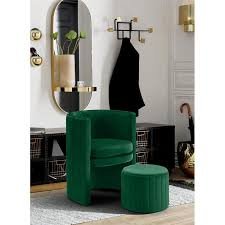 Meridian Furniture Selena Velvet Accent Chair and Ottoman Set in Green -  Walmart.com - Walmart.com