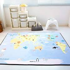 Amazon Com Ge Yobby Anti Slip Large Kids Play Rug Thicken World Map Planet Play Mat Fun Soft Play Rug For Learning Playroom Nursery Children S Gift A 150x200cm 59x79inch Home Kitchen