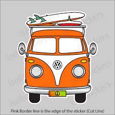 Vw Volkswagen Camper Bus Orange Window Decal Bumper Sticker