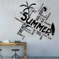 Summer Travel Quotes Wall Vinyl Decal Word Cloud Beach Home Decor Unique Surf Murals Lettering Large Size Living Room Lc1584 Wall Stickers Aliexpress