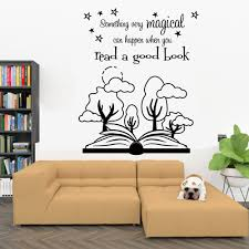 Cartoon Forest Wall Decal Read A Book Quotes Vinyl Window Sticker Study Reading Room Library Interior Decor Removable Mural Q998 Wall Stickers Aliexpress