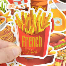 50 Pcs Tasty Fast Food Stickers Toys For Children Hamburger Fries Pizz Bargain Industries
