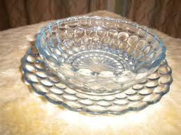 sapphire blue bubble glass bowl and