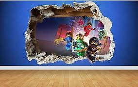Lego Ninjago 3d Style Smashed Wall Sticker Kids Childrens Bedroom Vinyl Art Lego Room Decor Lego Wall Art Lego Wall