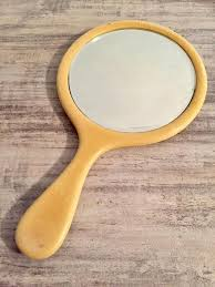french ivory celluloid handheld mirror