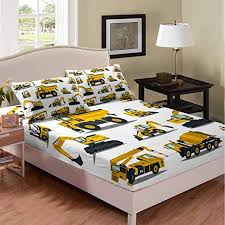 Amazon Com Excavator Tractor Fitted Sheet Cartoon Car Bedding Set For Kids Boys Children Abstract Vehicles Bed Sheet Cover Machinery Room Decor Bed Cover Full Size Home Kitchen