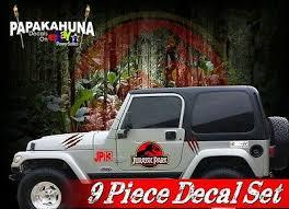 9 Piece Jurassic Park Vinyl Graphics Decals Set Jk Tk Door Stickers Ebay
