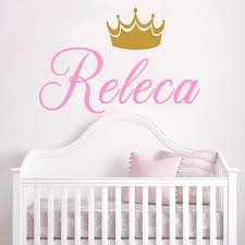 Yoyoyu Fancy Name Decal Crown Wall Decal Gold Crown Wall Sticker Vinyl Name Decor Wall Stickers Nursery Crown Personalizd Decors Wall Stickers Aliexpress