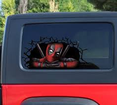 Funny Deadpool 3d Sticker Cracked Window Decal Deadpool Car Etsy Deadpool Car Window Decals Car Decals