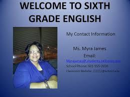 WELCOME to SIXTH GRADE ENGLISH  authorSTREAM