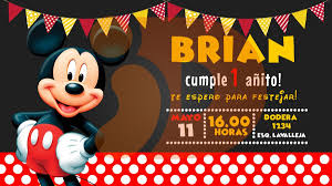 Tarjeta Invitacion Cumpleanos Digital Mickey Mouse Whatsapp
